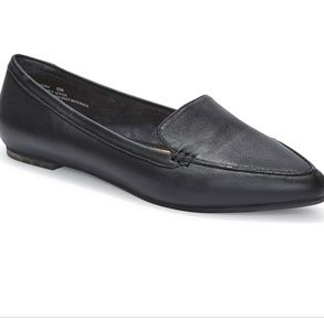 Me Too Black Pointed Leather Loafers 8